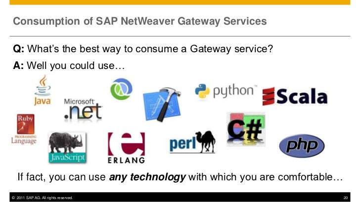 Consumption of SAP NetWeaver Gateway ServicesQ: What's the best way to consume a Gateway service?A: Well you could use…   ...