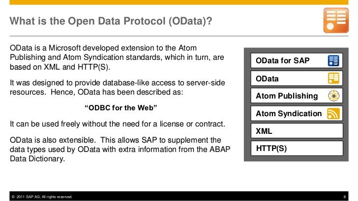 What is the Open Data Protocol (OData)?OData is a Microsoft developed extension to the AtomPublishing and Atom Syndication...