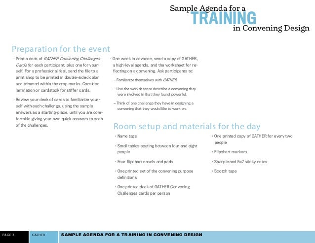 Event Agenda Sample Sample Agenda For A Training In Convening