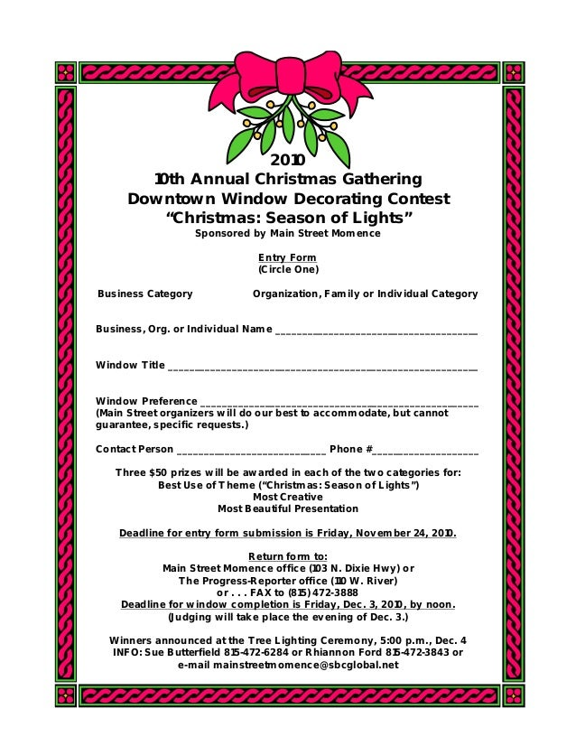 """2010 10th Annual Christmas Gathering Downtown Window Decorating Contest """"Christmas: Season of Lights"""" Sponsored by Main St..."""