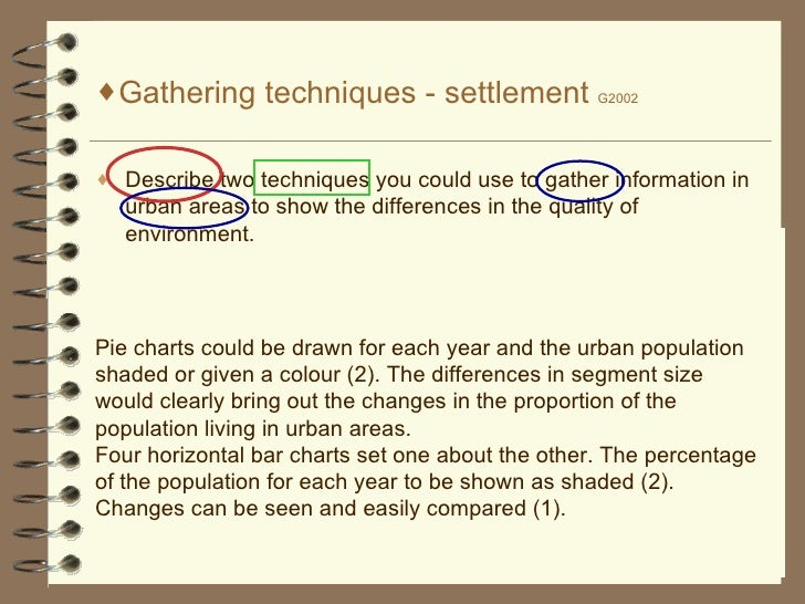 <ul><li>Gathering techniques - settlement  G2002 </li></ul><ul><li>Describe two techniques you could use to gather informa...