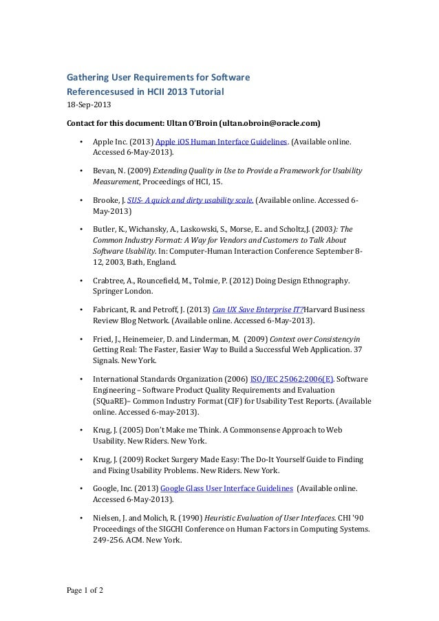 Page 1 of 2 Gathering User Requirements for Software Referencesused in HCII 2013 Tutorial 18-Sep-2013 Contact for this doc...
