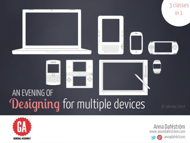 "3 classes in 1  AN EVENING OF  D!""#$%#%$ for multiple devices  20 January 2014  Anna Dahlström  www.annadahlstrom.com anna..."