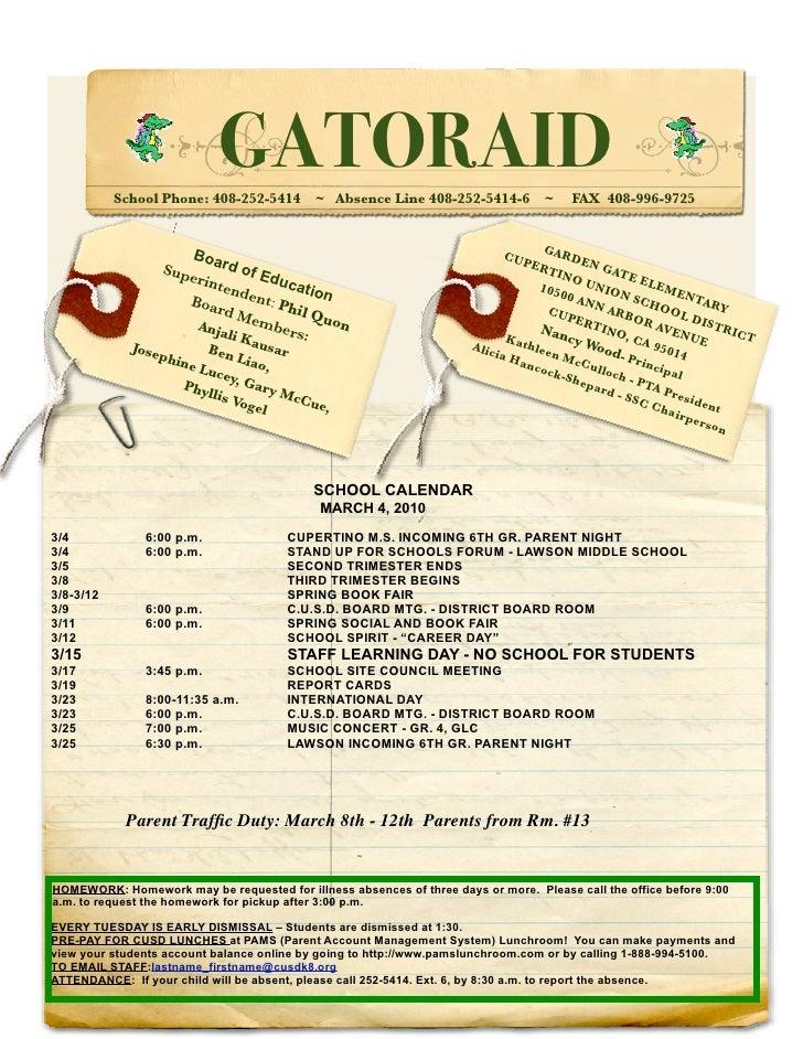 GATORAID            School Phone: 408-252-5414       ~ Absence Line 408-252-5414-6         ~    FAX 408-996-9725          ...