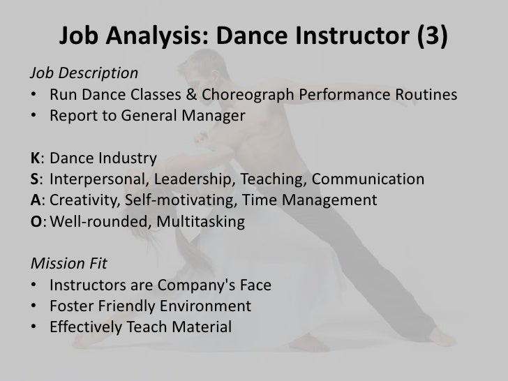 dance instructor job description