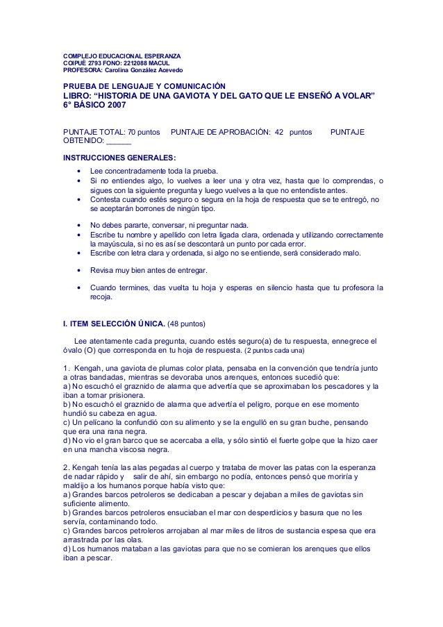 COMPLEJO EDUCACIONAL ESPERANZACOIPUÉ 2793 FONO: 2212088 MACULPROFESORA: Carolina González AcevedoPRUEBA DE LENGUAJE Y COMU...