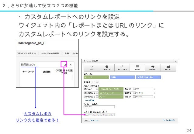2,さらに加速して役立つ 2 つの機能    ・カスタムレポートへのリンクを設定    ウィジェット内の「レポートまたは URL のリンク」に    カスタムレポートへのリンクを設定する。     カスタムレポの   リンク先も指定できる!  ...