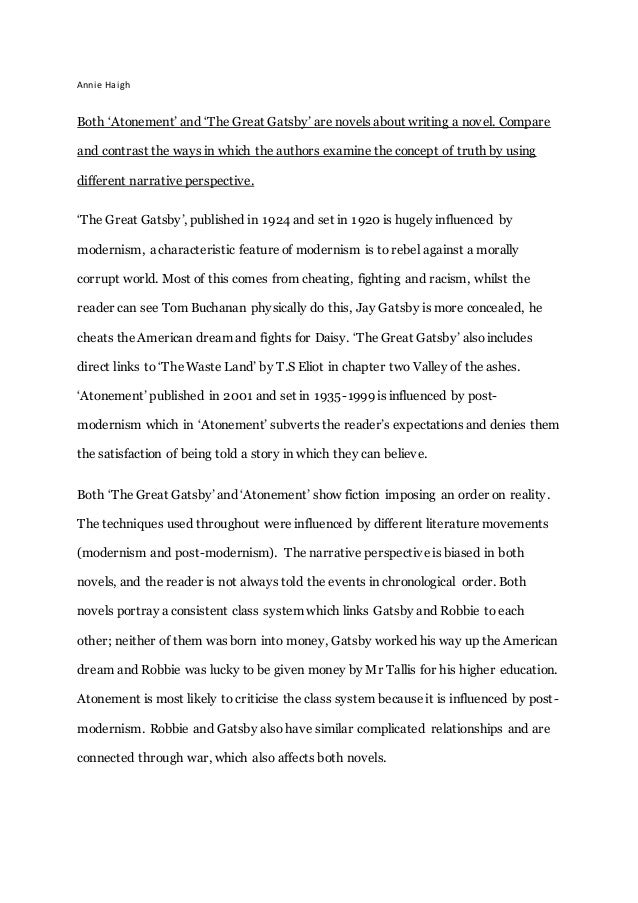 The Great Gatsby Thesis Statements and Important Quotes