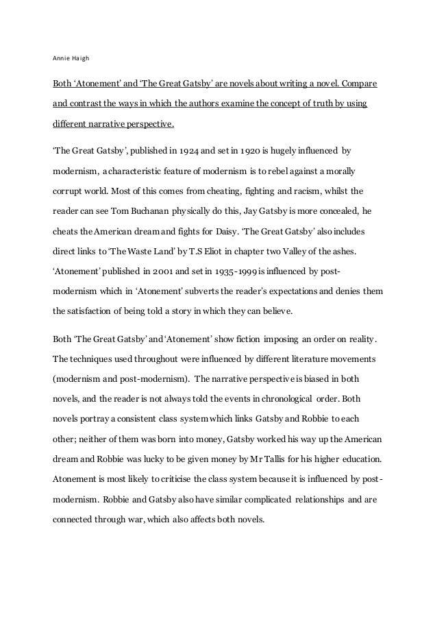 Merveilleux Annie Haigh Both U0027Atonementu0027 And U0027The Great Gatsbyu0027 Are Novels About  Writing ...