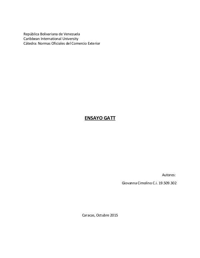 República Bolivariana de Venezuela Caribbean International University Cátedra: Normas Oficiales del Comercio Exterior ENSA...