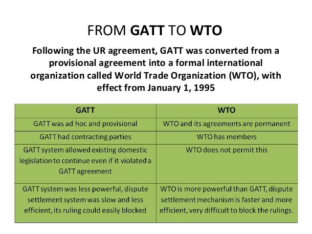gatt to wto This article reviews the history of gatt and the wto  literature on regional  trade agreements and administered protection, two important exceptions to  gatt's.