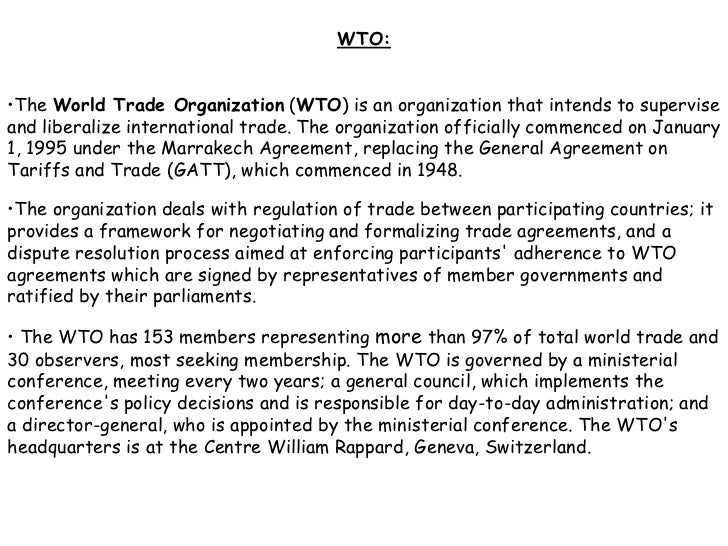 Role of wto in india essay