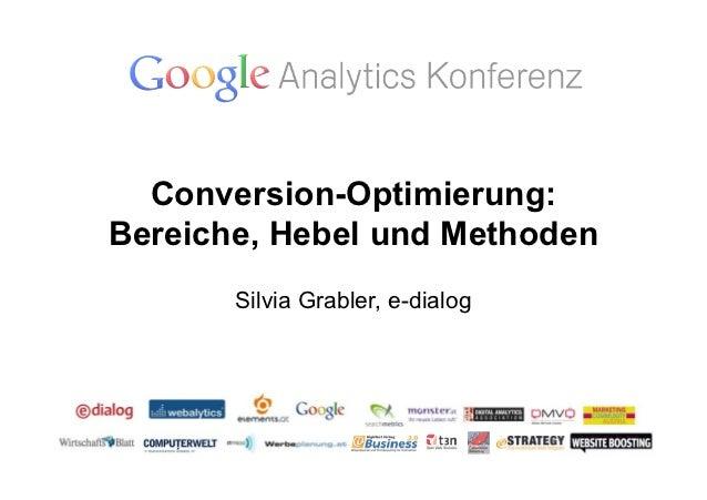 Conversion-Optimierung:Bereiche, Hebel und Methoden       Silvia Grabler, e-dialog