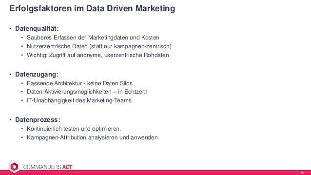 • Datenqualität: • Sauberes Erfassen der Marketingdaten und Kosten • Nutzerzentrische Daten (statt nur kampagnen-zentrisch...