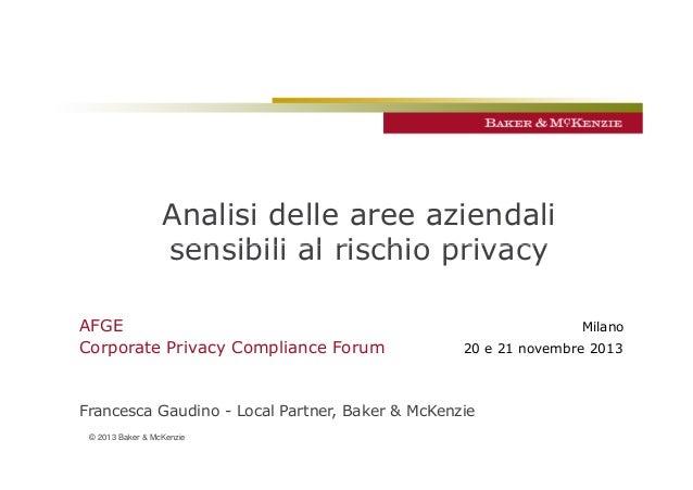 Analisi delle aree aziendali sensibili al rischio privacy AFGE Corporate Privacy Compliance Forum  Milano 20 e 21 novembre...