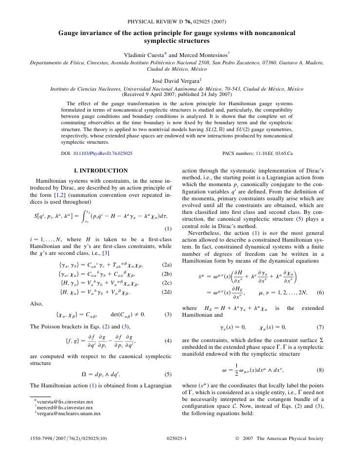 PHYSICAL REVIEW D 76, 025025 (2007)              Gauge invariance of the action principle for gauge systems with noncanoni...