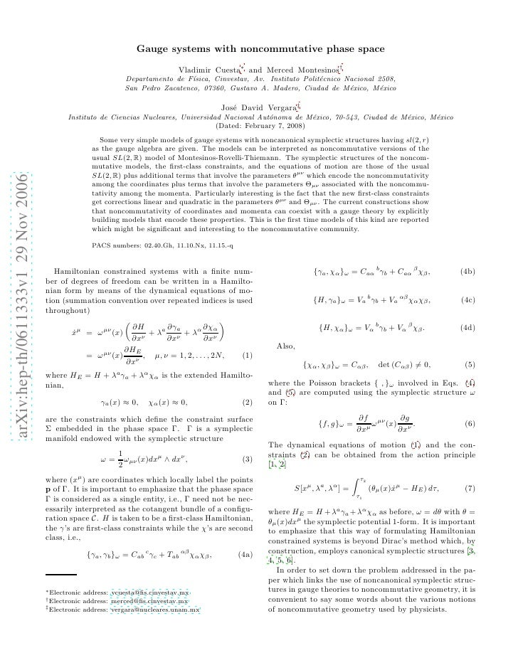 Gauge systems with noncommutative phase space                                                                             ...
