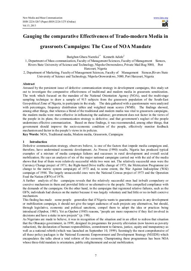 New Media and Mass Communication www.iiste.orgISSN 2224-3267 (Paper) ISSN 2224-3275 (Online)Vol.13, 20137Gauging the compa...