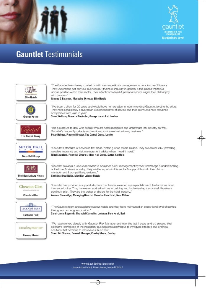 """Extraordinary cover.Gauntlet Testimonials                          """"The Gauntlet team have provided us with insurance & ri..."""