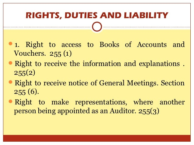 rights and duties of company auditor