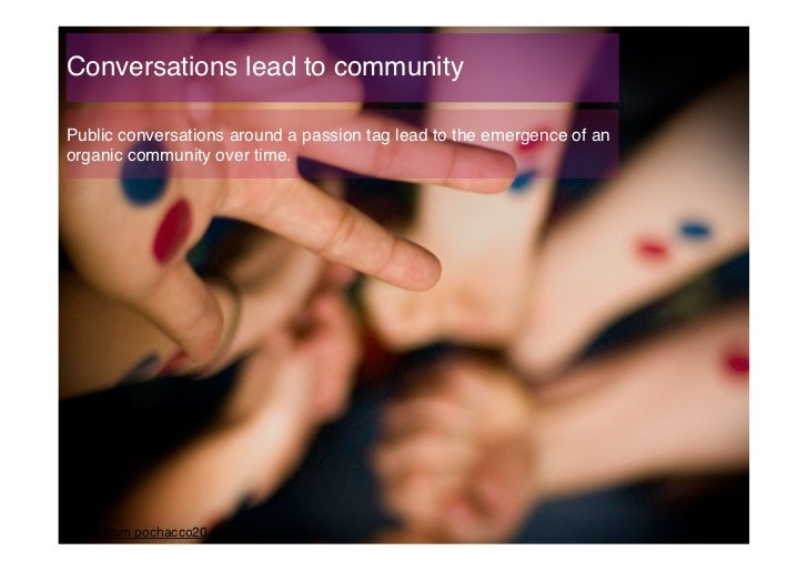 Conversations lead to community!Public conversations around a passion tag lead to the emergence of anorganic community ove...