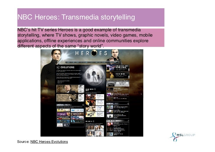 NBC Heroes: Transmedia storytelling!NBC's hit TV series Heroes is a good example of transmediastorytelling, where TV shows...