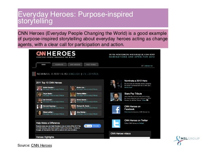 Everyday Heroes: Purpose-inspiredstorytelling !CNN Heroes (Everyday People Changing the World) is a good exampleof purpose...