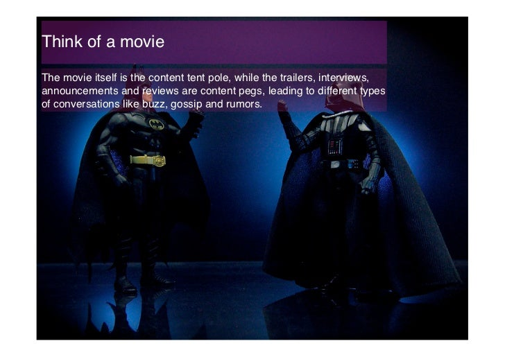 Think of a movie!The movie itself is the content tent pole, while the trailers, interviews,announcements and reviews are c...