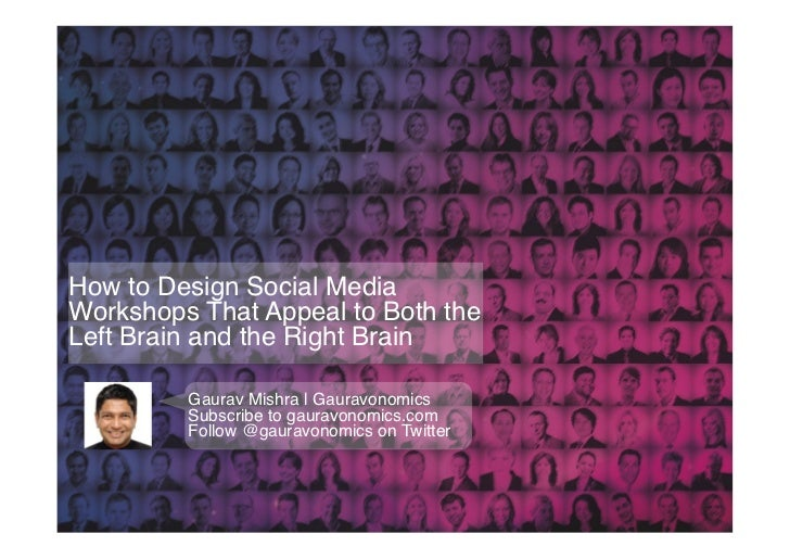 How to Design Social MediaWorkshops That Appeal to Both theLeft Brain and the Right Brain!         Gaurav Mishra | Gauravo...