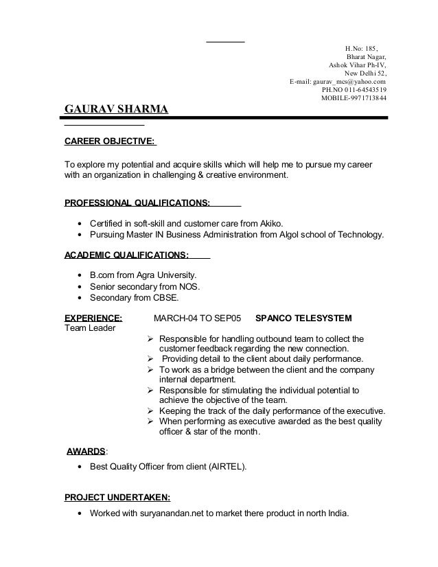 resume format for be