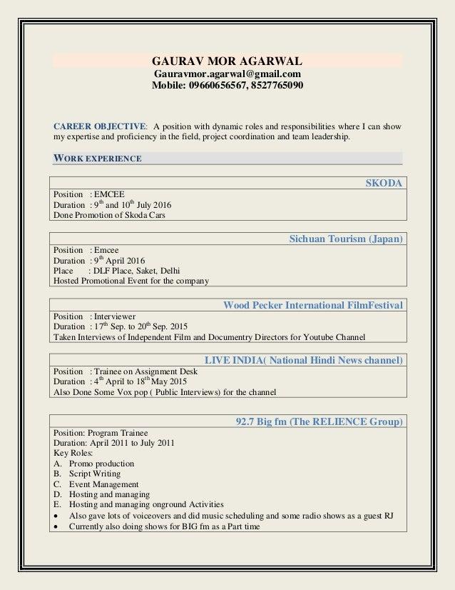 anchor gaurav resume