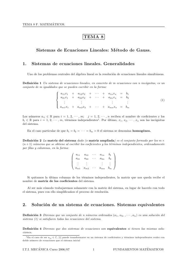 ´ TEMA 8 F. MATEMATICOS.                                                        TEMA 8             Sistemas de Ecuaciones ...