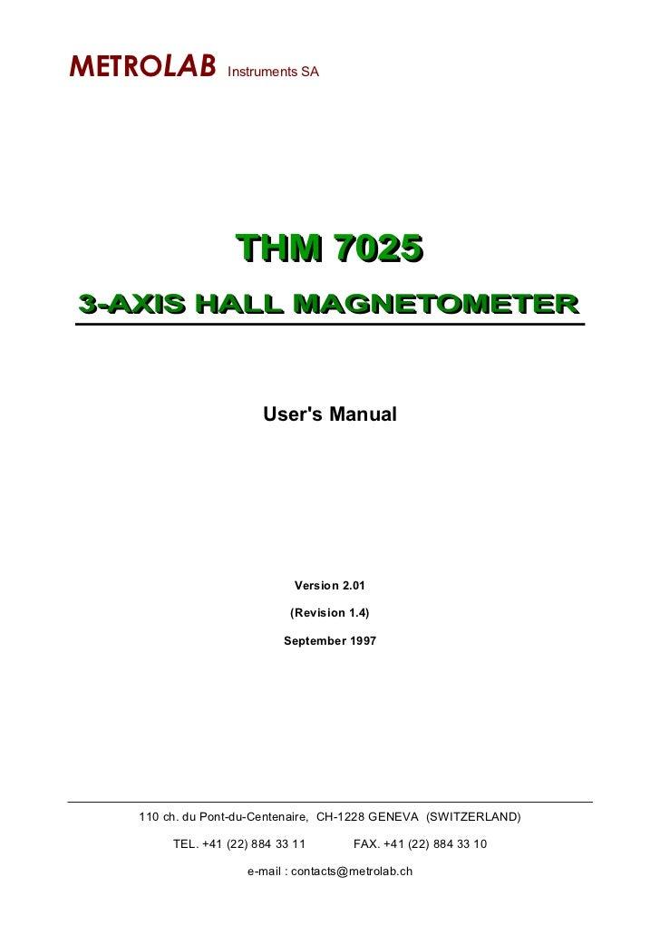 METROLAB         Instruments SA                       Users Manual                             Version 2.01               ...