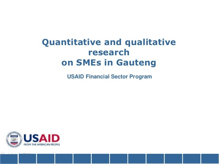 Quantitative and qualitativeresearchon SMEs in Gauteng USAID Financial Sector Program <br />