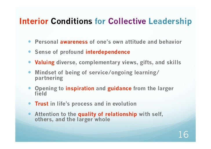Interior Conditions for Collective Leadership   Personal awareness of one's own attitude and behavior   Sense of profo...