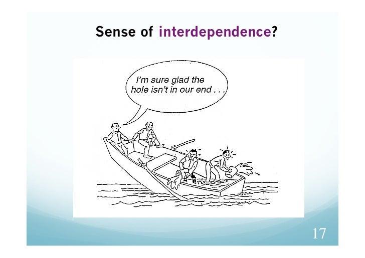 Sense of interdependence?                            17