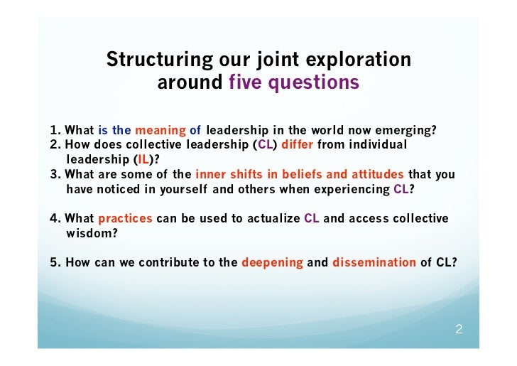 Structuring our joint exploration              around five questions1. What is the meaning of leadership in the world now...