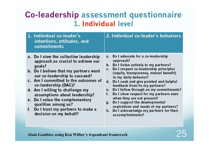 Co-leadership assessment questionnaire                         1. Individual level1. Individual co-leader's              ...