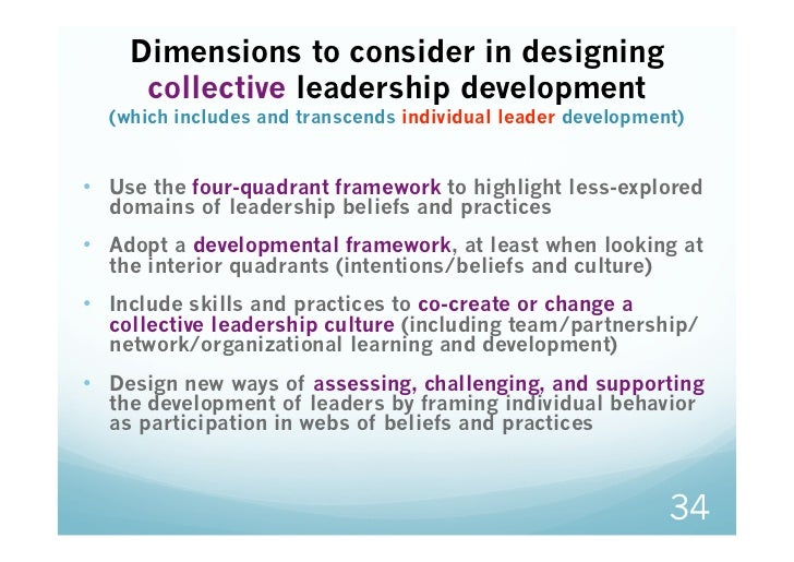 Dimensions to consider in designing     collective leadership development  (which includes and transcends individual leade...