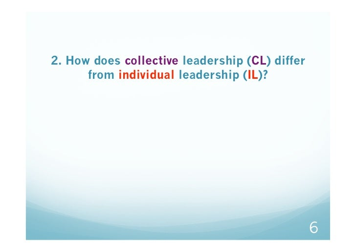 2. How does collective leadership (CL) differ      from individual leadership (IL)?                                       ...