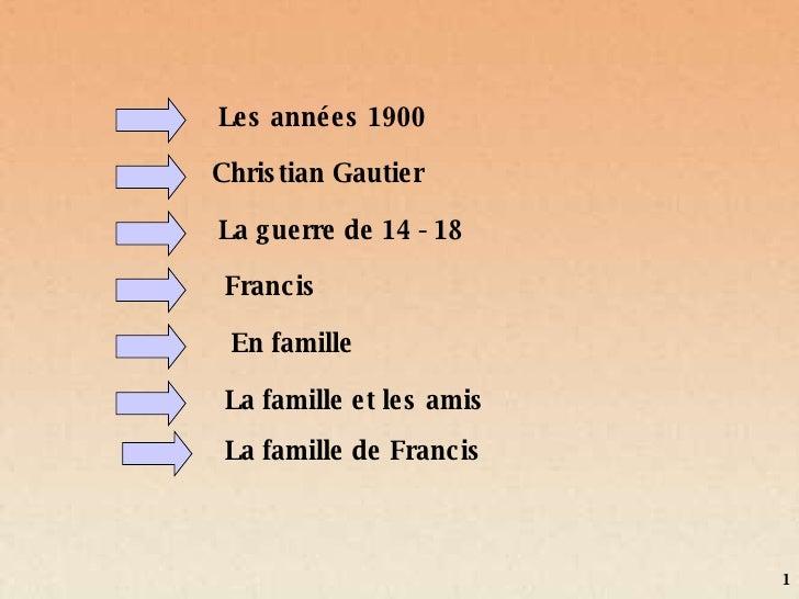 Les années 1900 Christian Gautier Francis La guerre de 14 - 18 La famille et les amis En famille La famille de Francis