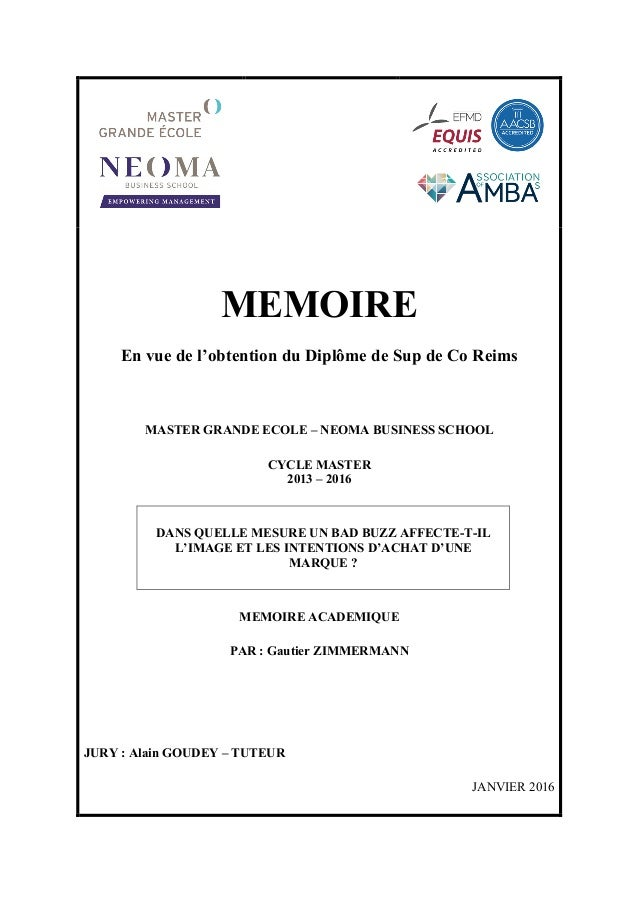 MEMOIRE En vue de l'obtention du Diplôme de Sup de Co Reims MASTER GRANDE ECOLE – NEOMA BUSINESS SCHOOL CYCLE MASTER 2013 ...