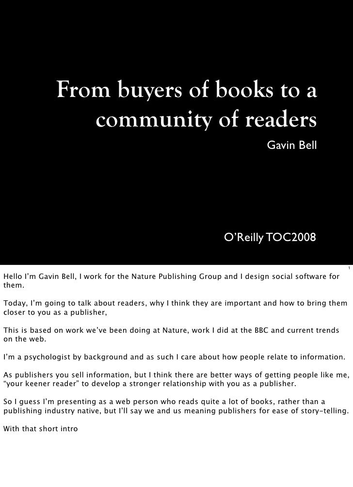 From buyers of books to a                  community of readers                                                           ...