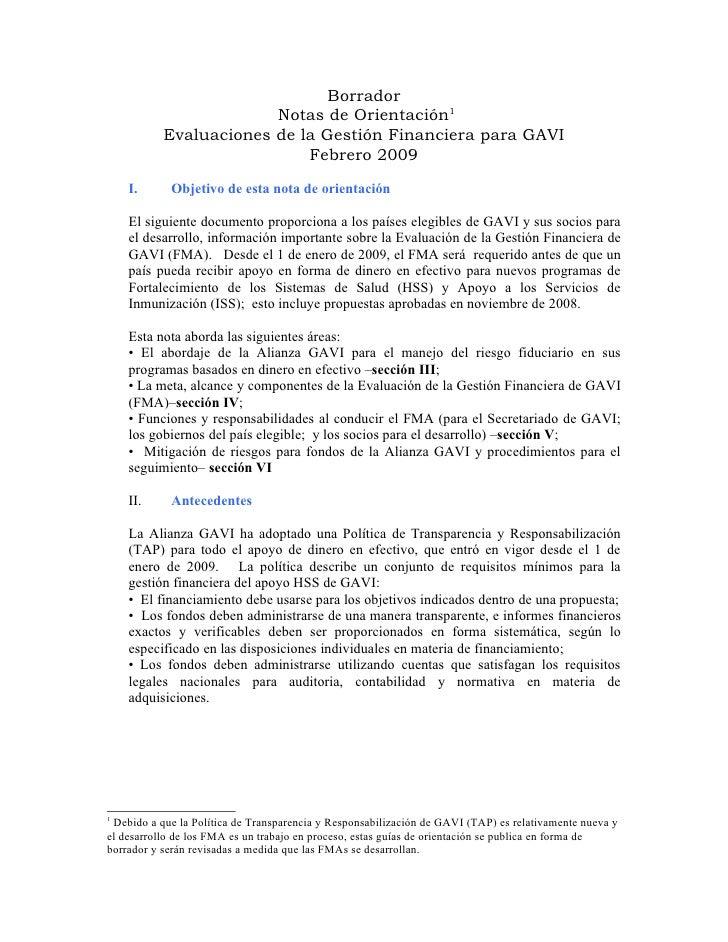 Borrador                         Notas de Orientación1            Evaluaciones de la Gestión Financiera para GAVI         ...