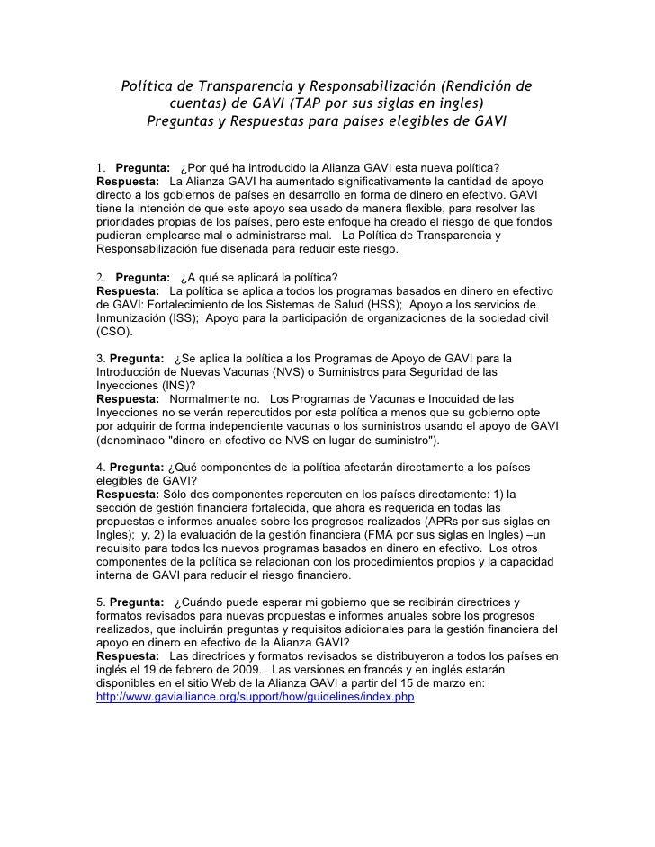 Política de Transparencia y Responsabilización (Rendición de             cuentas) de GAVI (TAP por sus siglas en ingles)  ...
