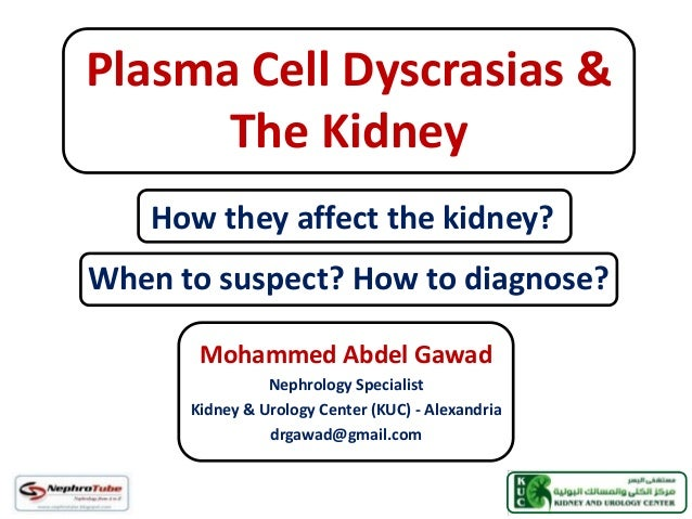 Plasma Cell Dyscrasias & The Kidney Mohammed Abdel Gawad Nephrology Specialist Kidney & Urology Center (KUC) - Alexandria ...