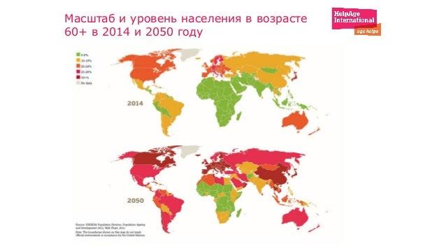 Масштаб и уровень населения в возрасте 60+ в 2014 и 2050 году