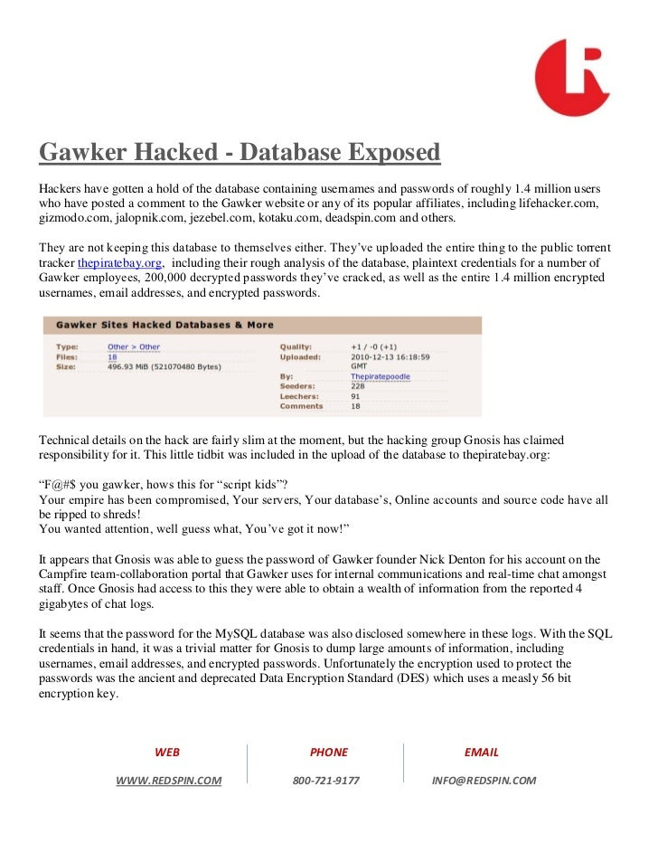 Gawker Hacked - Database ExposedHackers have gotten a hold of the database containing usernames and passwords of roughly 1...