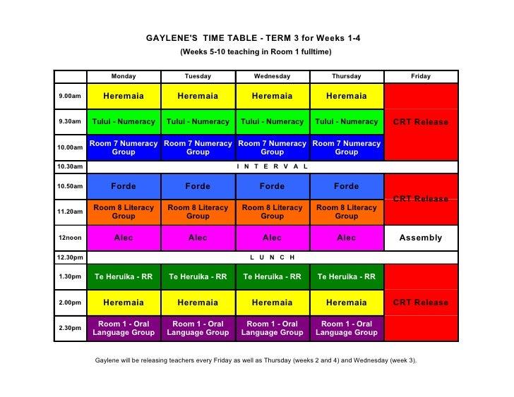 GAYLENE'S TIME TABLE - TERM 3 for Weeks 1-4                                        (Weeks 5-10 teaching in Room 1 fulltime...