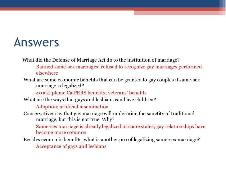 benefits of gay marriage essay Social security benefits and filing joint taxes don't exactly pop into your head when you're getting engaged, so we've specified 13 legal benefits of marriage you may.